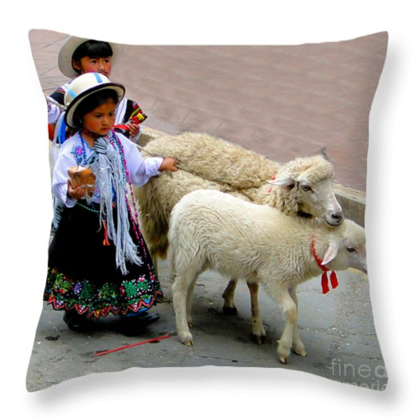 Cuenca Kids 233 Throw Pillow by Al Bourassa