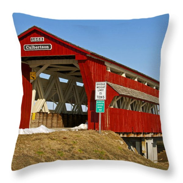 Culbertson or Treacle Creek Covered Bridge Throw Pillow by Jack R Perry