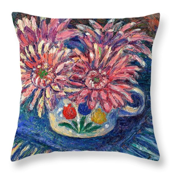 Cup Of Flowers Throw Pillow by Kendall Kessler