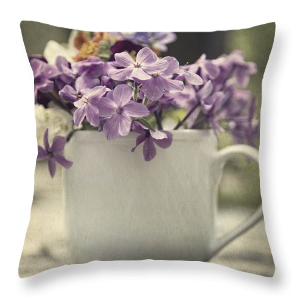 Cup Of Wildflowers Throw Pillow by Edward Fielding