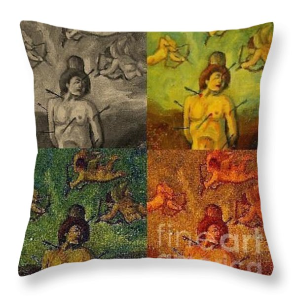Cupid Persecuted Throw Pillow by John Malone