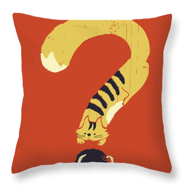 curiosity kills Throw Pillow by Budi Kwan