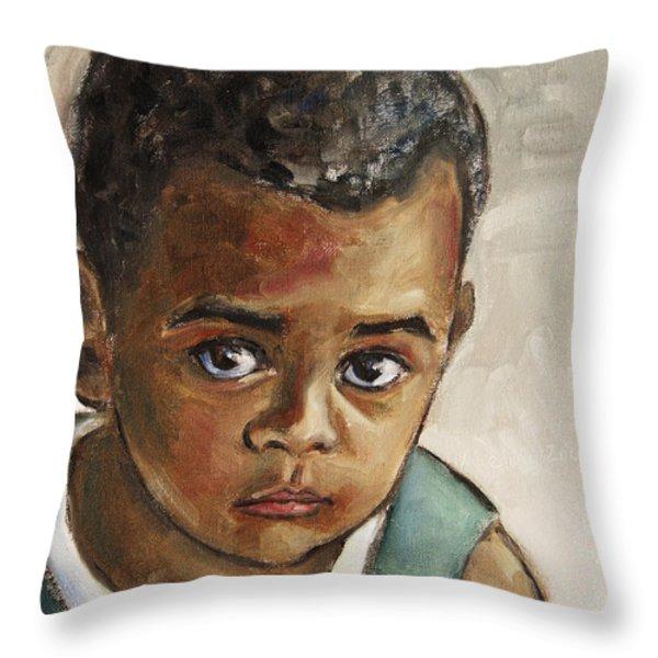 Curious Little Boy Throw Pillow by Xueling Zou