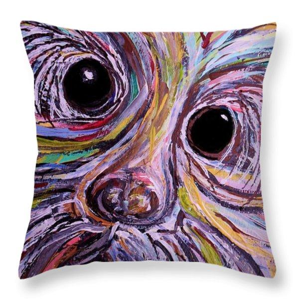 Curious Schnauzer Throw Pillow by Eloise Schneider