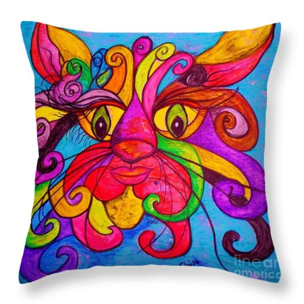Curly Cat Love Throw Pillow by Eloise Schneider