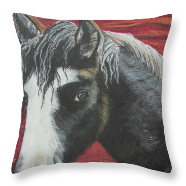 Curly - The Nokota Mustang Throw Pillow by Jeanne Fischer