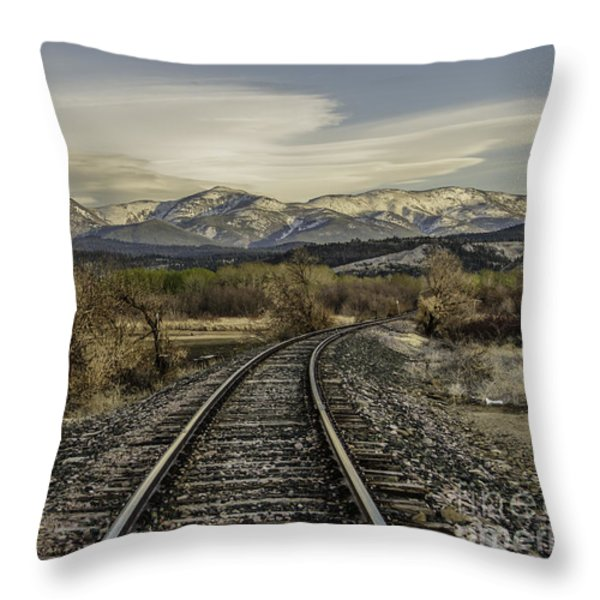 Curve In The Tracks Throw Pillow by Sue Smith
