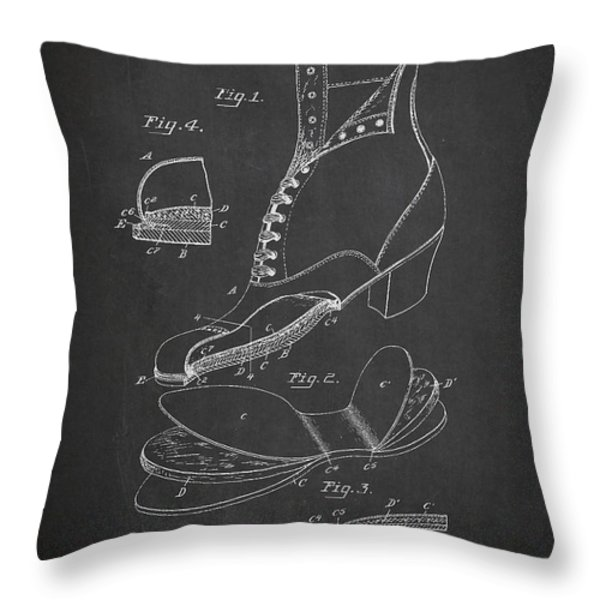 Cushion Insole For Shoes Patent Drawing From 1905 Throw Pillow by Aged Pixel