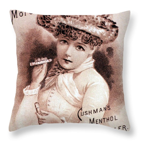 Cushmans Menthol Inhaler-headache Cure Throw Pillow by Science Source