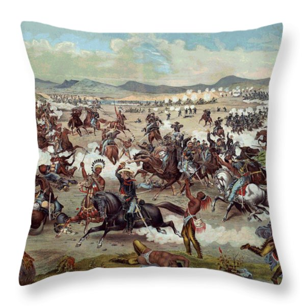 Custer's Last Charge Throw Pillow by Unknown