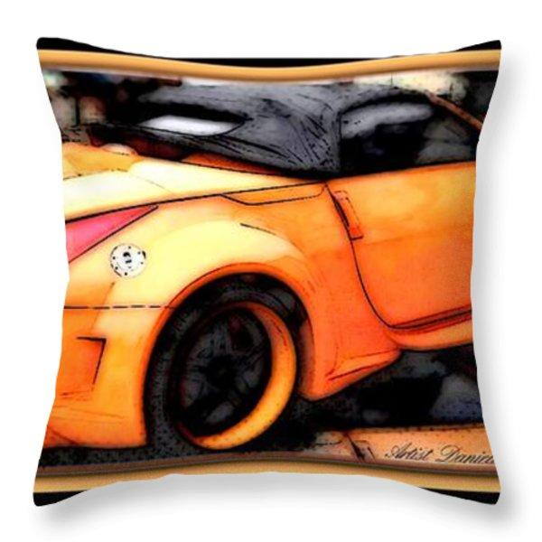 Custom Orange Sports Car Throw Pillow by Danielle  Parent