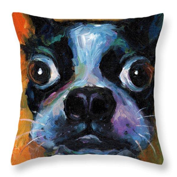 Cute Boston Terrier puppy art Throw Pillow by Svetlana Novikova