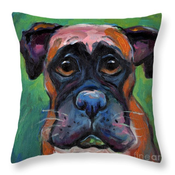 Cute Boxer puppy dog with big eyes painting Throw Pillow by Svetlana Novikova