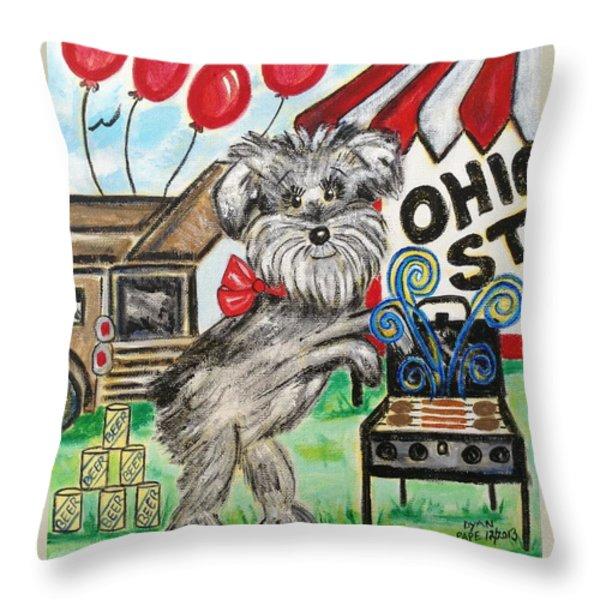 Osu Tailgating Dog Throw Pillow by Diane Pape