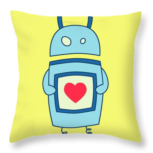 Cute Clumsy Robot With Heart Throw Pillow by Boriana Giormova