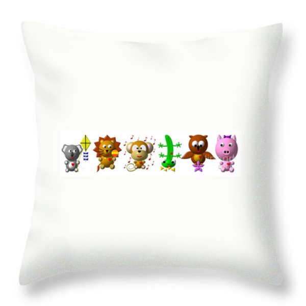 Cute Critters With Heart K To P Throw Pillow by Rose Santuci-Sofranko