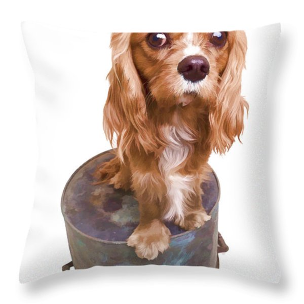 Cute Puppy Card Throw Pillow by Edward Fielding
