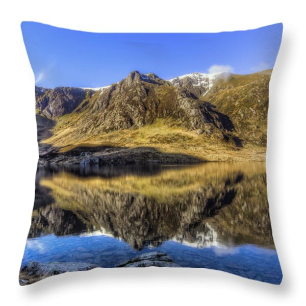 Cwm Idwal Throw Pillow by Ian Mitchell