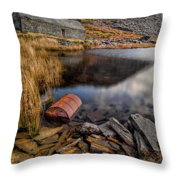 Cwmorthin Slate Quarry Throw Pillow by Adrian Evans