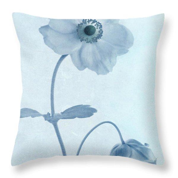 Cyanotype Windflowers Throw Pillow by John Edwards