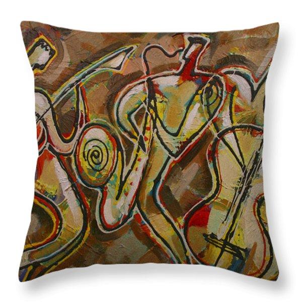 Cyber Jazz Throw Pillow by Leon Zernitsky