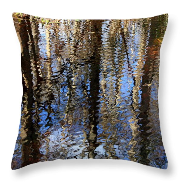 Cypress Reflection Nature Abstract Throw Pillow by Carol Groenen