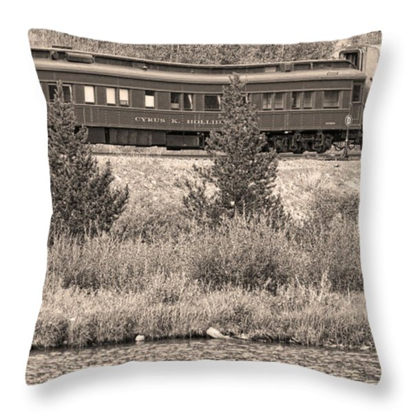 Cyrus K  Holliday Private Rail Car Bw Sepia Throw Pillow by James BO  Insogna