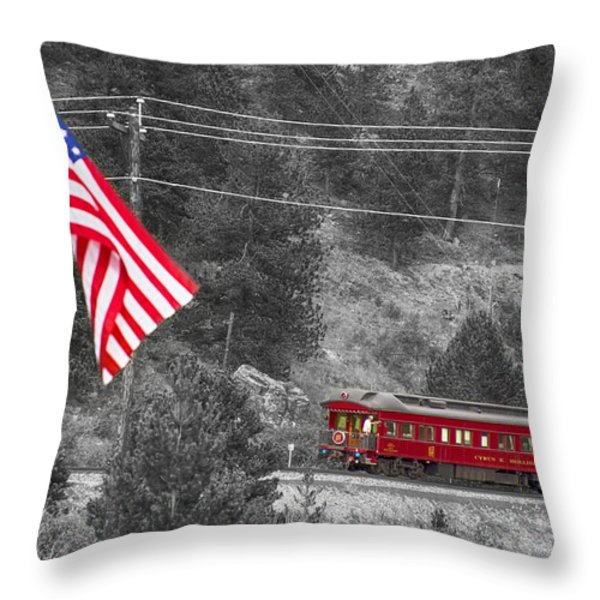 Cyrus K. Holliday Rail Car And Usa Flag Bwsc Throw Pillow by James BO  Insogna