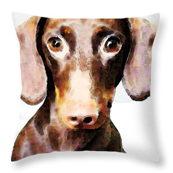 Dachshund Art - Roxie Doxie Throw Pillow by Sharon Cummings