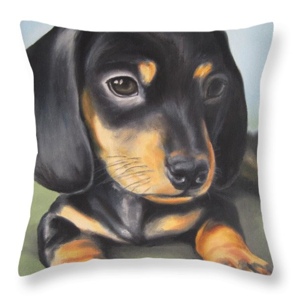Dachshund Puppy Throw Pillow by Jindra Noewi