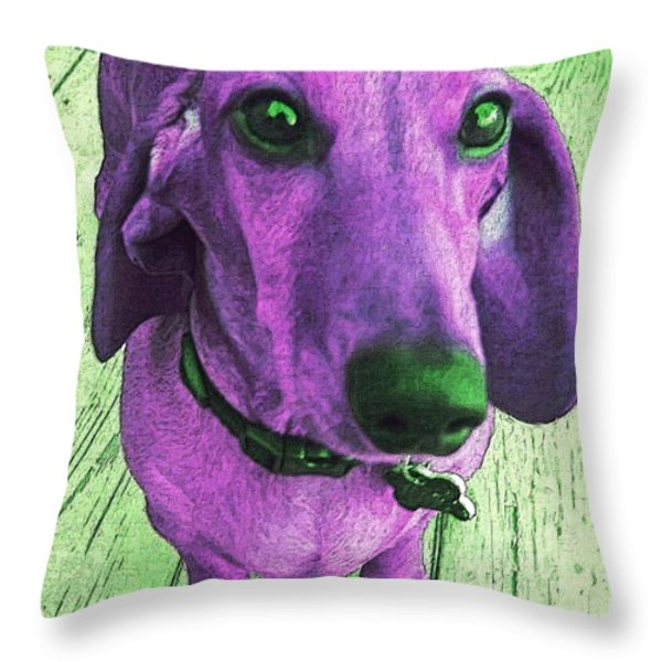Dachshund - Purple People Greeter Throw Pillow by Rebecca Korpita