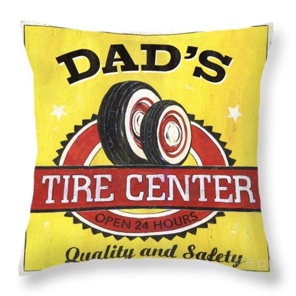 Dad's Tire Center Throw Pillow by Debbie DeWitt