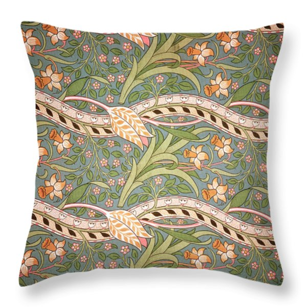 Daffodil Chintz Throw Pillow by John Henry Dearle