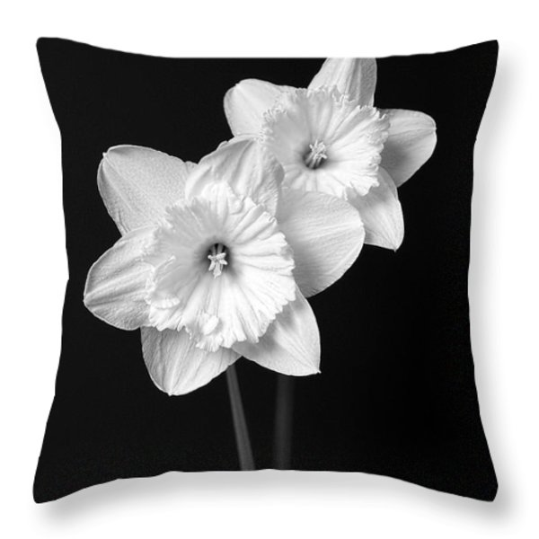 Daffodil Flowers Black And White Throw Pillow by Jennie Marie Schell