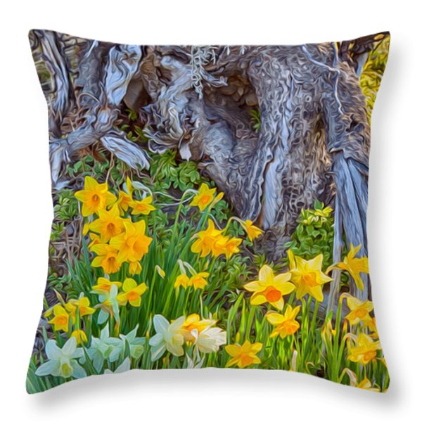 Daffodils And Sculpture Throw Pillow by Omaste Witkowski