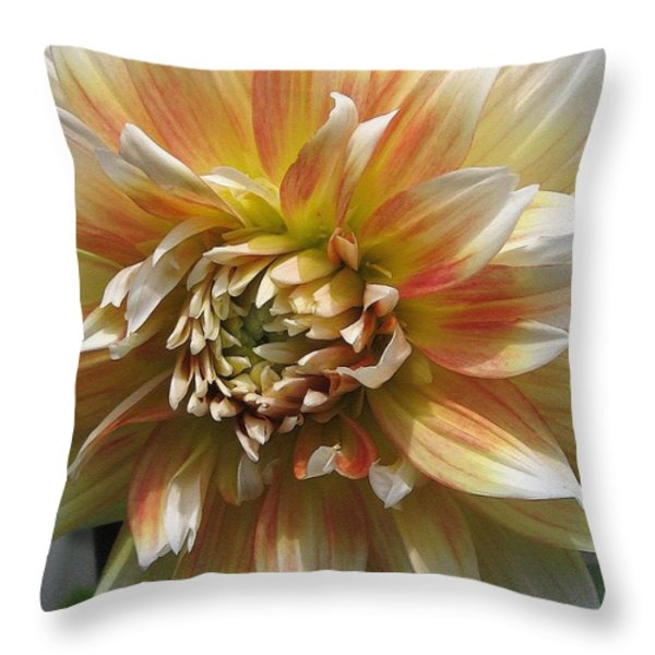 Dahlia Named Peaches-n-cream Throw Pillow by J McCombie