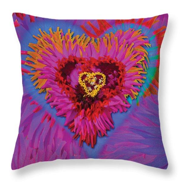 Dahlia Rainbow Throw Pillow by Alixandra Mullins