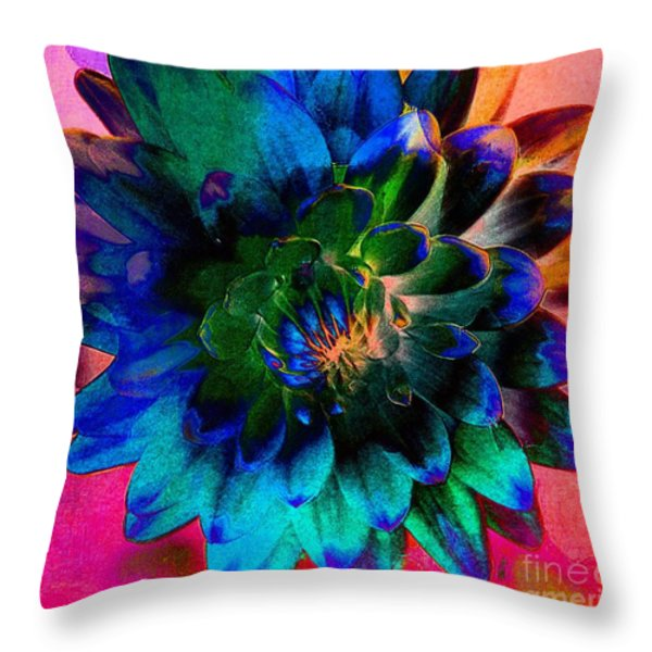 Dahlia With Textures Throw Pillow by Kathleen Struckle