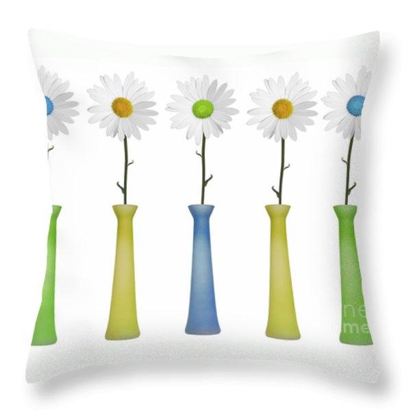 Daisies Throw Pillow by Diane Diederich