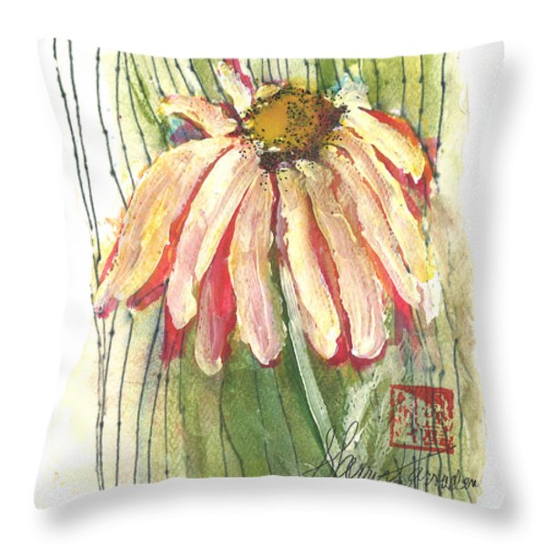 Daisy Girl Throw Pillow by Sherry Harradence