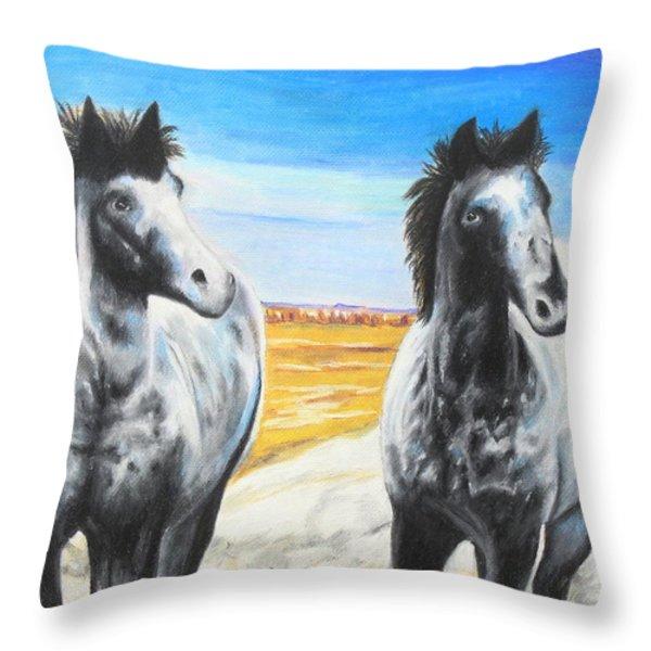 Dakota Nokota's Throw Pillow by Jeanne Fischer