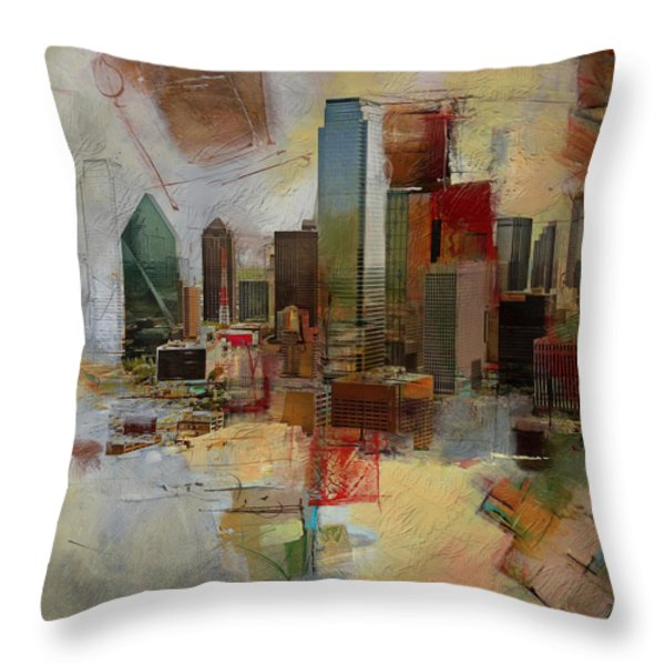 Dallas Skyline 003 Throw Pillow by Corporate Art Task Force