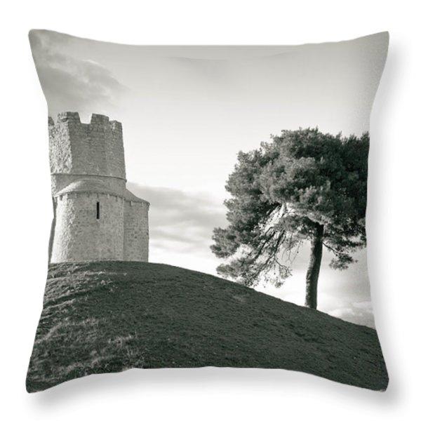Dalmatian stone church on the hill Throw Pillow by Dalibor Brlek