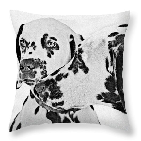 Dalmatians - A Great Breed for the Right Family Throw Pillow by Christine Till