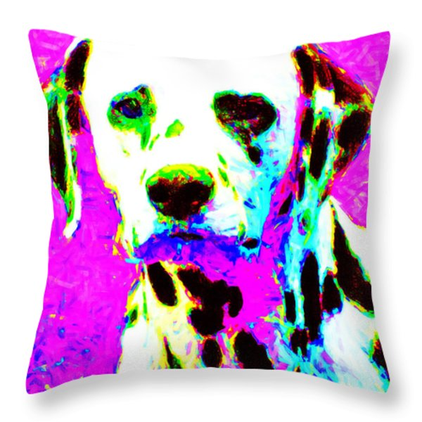 Dalmation Dog 20130125v1 Throw Pillow by Wingsdomain Art and Photography