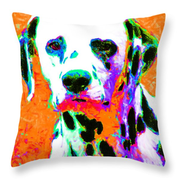 Dalmation Dog 20130125v2 Throw Pillow by Wingsdomain Art and Photography