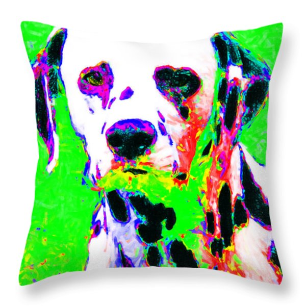 Dalmation Dog 20130125v3 Throw Pillow by Wingsdomain Art and Photography
