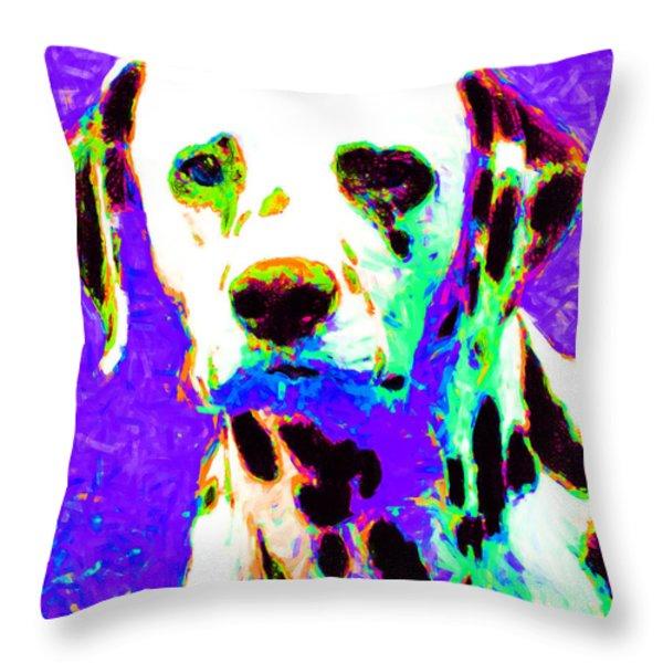 Dalmation Dog 20130125v4 Throw Pillow by Wingsdomain Art and Photography