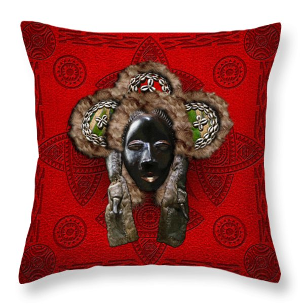 Dan Dean-Gle Mask of the Ivory Coast and Liberia on Red Leather Throw Pillow by Serge Averbukh