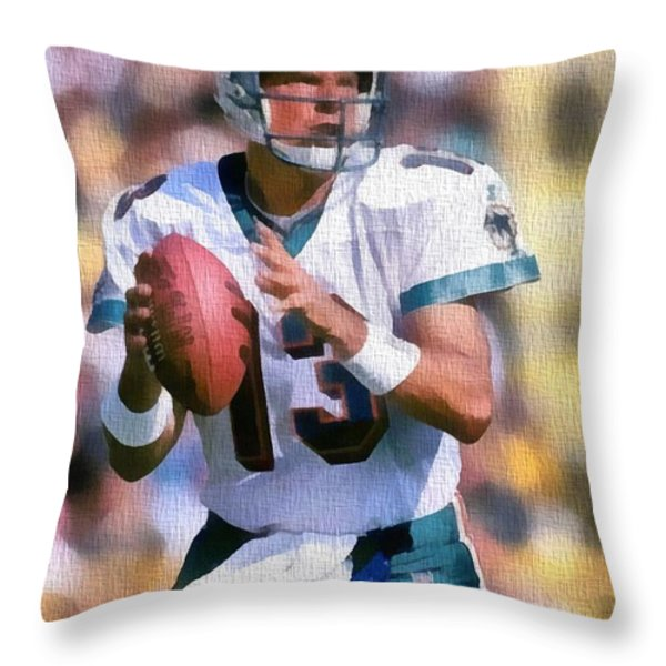 Dan Marino Canvas Throw Pillow by Dan Sproul